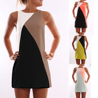 New Summer Sexy Women Sleeveless Party Dress Casual Mini Dress Patchwork