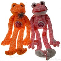 Lot 2 Peace Love Flower Frogs Hugs Hanging Plush Embroidered Pink Orange
