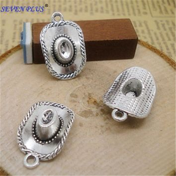 High Quality 20 Pieces/Lot 13mm*22mm Dallas Antique Silver Plated Cowboy Hat Charms For Jewelry Making