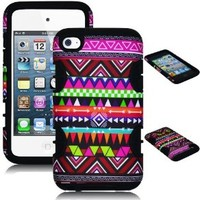 Bastex Hybrid Case for Apple Ipod Touch 4, 4th Generation - Black Silicone / Aztec Tribal Hard