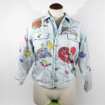 Denim Jean Jacket Vintage 1980s Multicolor Jou Jou Airbrush Graffiti
