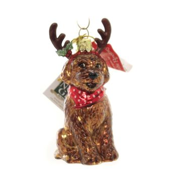 Holiday Ornaments DOG WITH ANTLERS Christmas Puupy Doodle Nb1448 Labradoodle