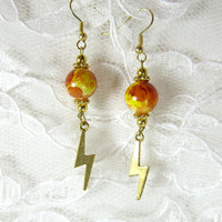 SALE trendy earrings lightning bolt tie dye beads gold