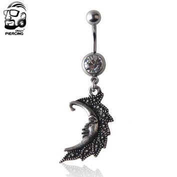 1pc Fashion Body moon shape Surgical Steel Silver belly button rings Bar Piercing Sexy Body Jewelry for women navel piercing