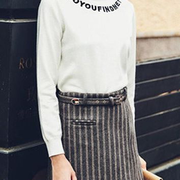 White Monogram Print Embroidery High Neck Long Sleeve Casual Pullover Sweater