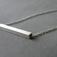 Minimal Sterling Silver Bar Necklace Horizontal Square Rod Modern Geometric Necklace Femminine Jewelry by SteamyLab