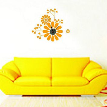 2015 Home Decoration Diy New Simple Creative Flower Clock Vinyl Wall Decal Removable Planner  vinyl Wall Stickers