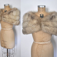 Fox Fur Stole / Silver Capelet / bridal wedding
