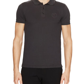 Armani Collezioni Men's Solid Piqué Polo - Dark Grey -