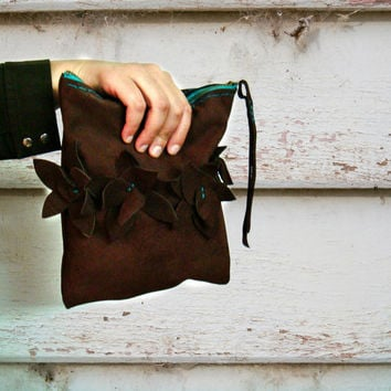 Brown Real Leather Suede Clutch Bag Turquoise Zipper and Flower Embellishments