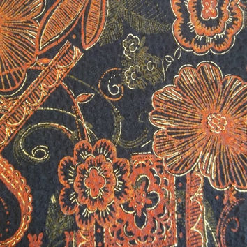 Black Textured Fabric with Rust Brown Floral Design and Gold Trim