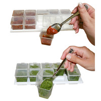 Hampton Direct 11 Pesto/Baby/Herb/Broth/Sauce Cubes w/ Tray Covers 1oz, Set Of 2