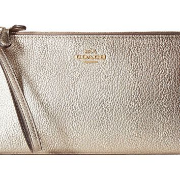 COACH Womens Double Zip Wallet in Metallic Leather