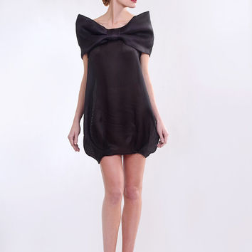 Sheer silk tulle taffeta dress with bow.
