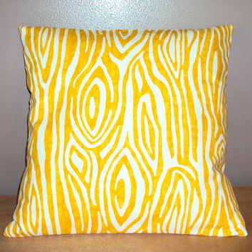 16x16 Modern Yellow Cotton Tree Bark Print Pillow Cover - Ships Within 3 Days