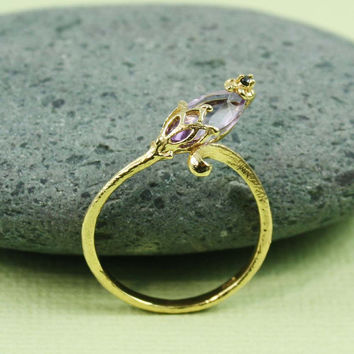 Gold Amethyst & Black CZ Floral Ring by tooriginal on Etsy