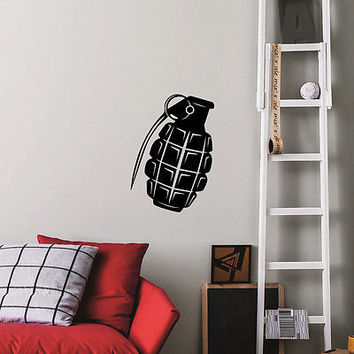 Wall Decals Military Grenade Army Sticker Boy Room Home Decor Vinyl Mural DA3924