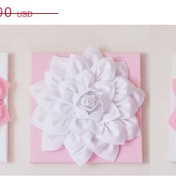 "MOTHERS DAY SALE Three Wall Hangings Light Pink Dahlia on White and White Dahlia on Light Pink  12 x12"" Canvases Wall Art- Baby Nursery Wall"