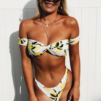 Lemon Print Off The Shoulder Bikini Set