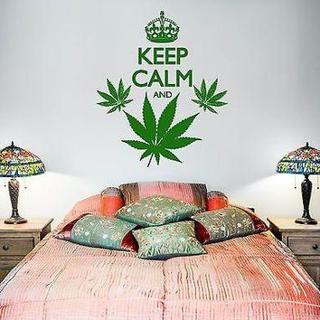 Wall Vinyl Marihuana Keep Calm And Smoke Weed Unique Gift (z3390)