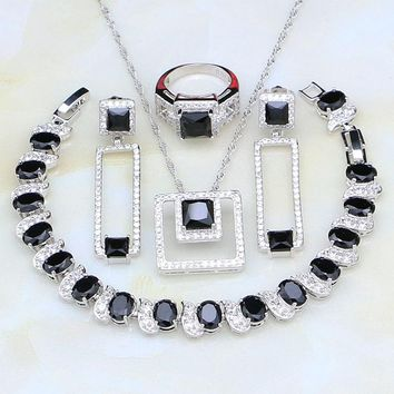 Black Stones White Cubic Zirconia 925 Sterling Silver Jewelry Sets For Women Wedding Earring/Pendant/Necklace/Bracelet/Ring