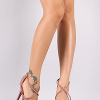 Qupid Metallic Platform Strappy Stiletto Heel