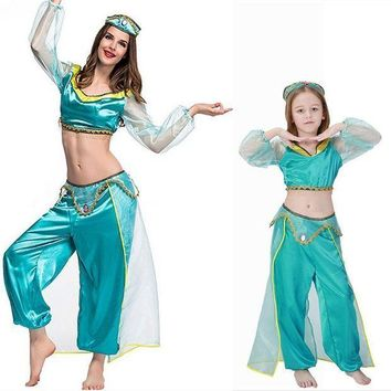 CREY6F Adult women halloween party cosplay kid children girl princess jasmine costume Aladdin's lamp clothes clothing