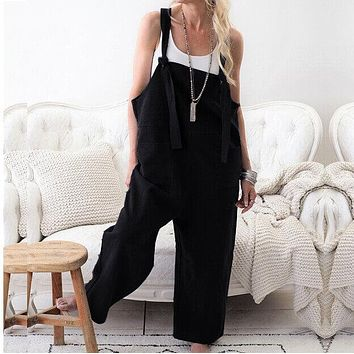 Overall Pockets Unisex Loose Jumpsuits