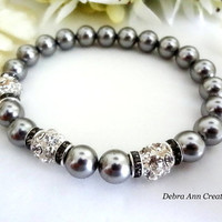 Swarovski Grey Pearl and Crystal Bracelet Gray Wedding Bridal Jewelry Mother of Bride Groom Gift Grey Bridesmaid Bracelet Grey Pearl Jewelry