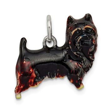 925 Sterling Silver Enameled Brown and Black Cairn Terrier Charm and Pendant