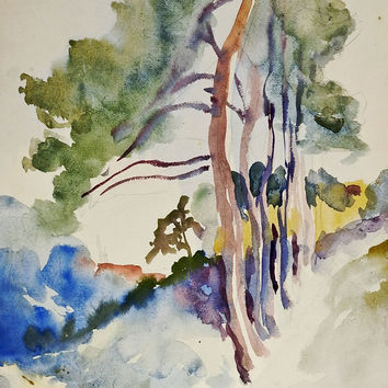 Tree-Lined Country Lane Watercolor Painting