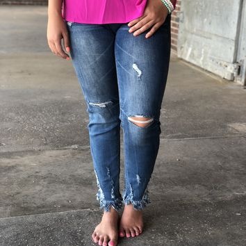 Grace Medium Wash Distressed with Bottom Frayed Jeans