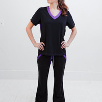 FLASH SALE!! Purple and Black Nursing Uniform Medical Scrubs Dental Hygienist Top Shirt