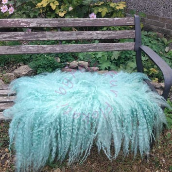 Flokati Large Felt Layer Rug Hand Felted Curly Fluffy  Fleece Pure Real Wool  Vibrant Mint Aqua by FeltFur  RTS