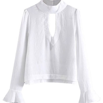 White High Neck Cut Out Flared Sleeve Blouse