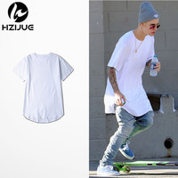 2017 HZIJUE justin bieber clothes cotton t-shirt swag summer mens t shirts skateboard tshirt solid hip hop T shirt solid men TEE