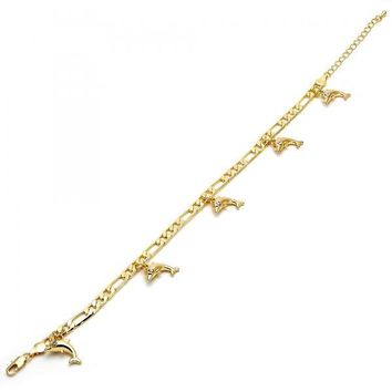 Gold Layered 03.63.1796.10 Charm Anklet , Dolphin and Figaro Design, with White Crystal, Polished Finish, Golden Tone