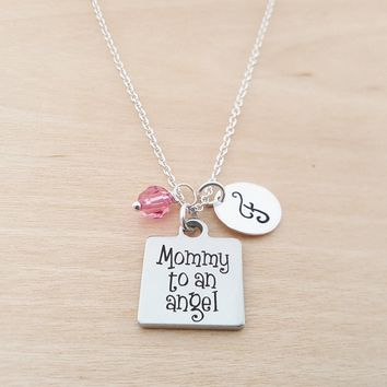 Mommy To An Angel Necklace - Memorial Necklace - Personalized Initial Necklace - Sterling Silver Necklace - Personalized Gift