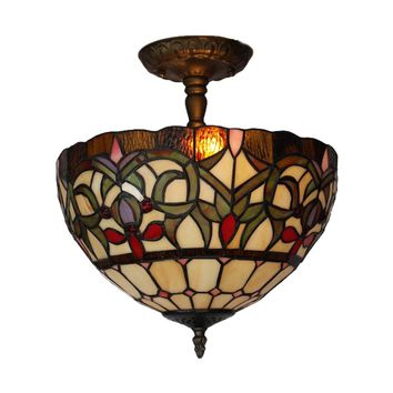 Amora Lighting Home Decorative AM1081HL12 Tiffany Style Ceiling Lamp