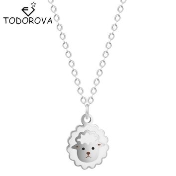 Todorova 10pcs Fashion Jewelry Stainless Steel EMOJI Theme Sheep Charming Necklace Pendant Gift for Girlfriend Wholesales