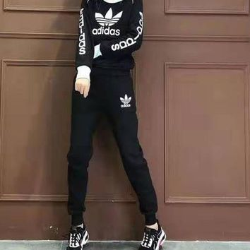 """""""Adidas"""" Woman Leisure Fashion Wild Letter Printing  Spell Color Round Neck Long Sleeve Tops Elastic Band Trousers Two-Piece Set Casual Wear"""