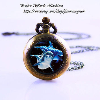 Dolphin & blue ocean Pocket Watch Necklace,Bronzen Necklace,Women Necklace,Personalized Gift,vintage glass,Jewelry,Zodiac Pendant