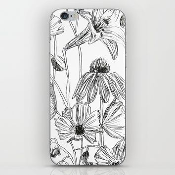 flower party black and white iPhone & iPod Skin by Color and Color