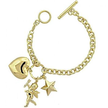 Gold Layered 5.020.004 Charm Bracelet, Angel and Heart Design, Diamond Cutting Finish, Gold Tone