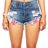 Plaid Pocket Cutoff Shorts