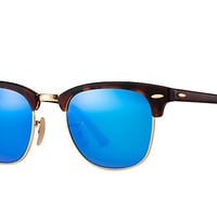 Ray Ban Clubmaster Sunglass Havana Blue Mirrored RB 3016 114517