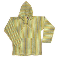 Calmate Hand Loomed Organic Cotton Light Weight Sweater Hoodie Pullover Striped great for burning man