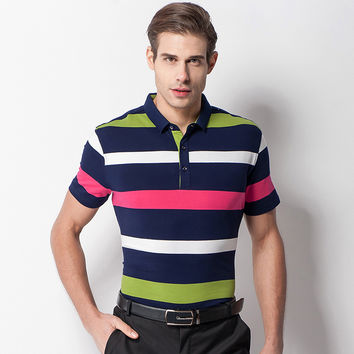 Summer Men Short Sleeve Cotton England Style Slim Tops Stripes T-shirts [6544361347]