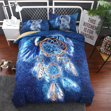 Fanaijia 3d duvet cover king size blue Dreamcatcher bedding set Pillowcase Bedspreads Bohemian Quilt Cover queen Size bed line