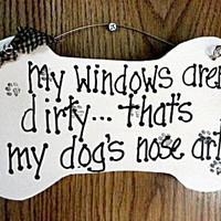 Dog sign window Nose Art wood sign puppy paws by kpdreams on Etsy